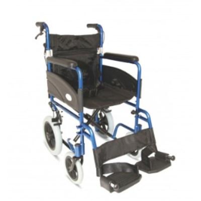 Folding Aluminium Transit Wheelchair w Attendant Handbrakes R